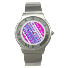 Line Obliquely Pink Stainless Steel Watch