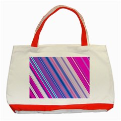 Line Obliquely Pink Classic Tote Bag (red)