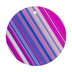 Line Obliquely Pink Round Ornament (Two Sides)