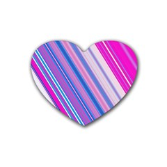 Line Obliquely Pink Heart Coaster (4 pack)