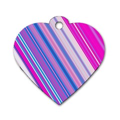 Line Obliquely Pink Dog Tag Heart (Two Sides)