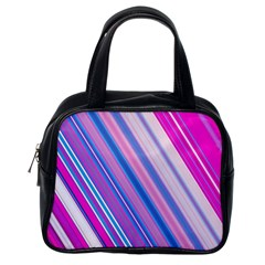 Line Obliquely Pink Classic Handbags (One Side)