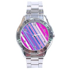 Line Obliquely Pink Stainless Steel Analogue Watch