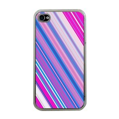 Line Obliquely Pink Apple iPhone 4 Case (Clear)