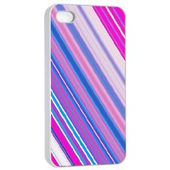 Line Obliquely Pink Apple iPhone 4/4s Seamless Case (White)