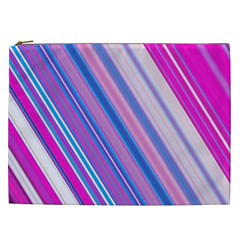 Line Obliquely Pink Cosmetic Bag (xxl)