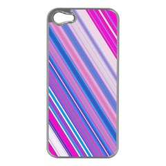 Line Obliquely Pink Apple iPhone 5 Case (Silver)