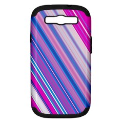 Line Obliquely Pink Samsung Galaxy S III Hardshell Case (PC+Silicone)
