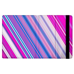 Line Obliquely Pink Apple iPad 3/4 Flip Case