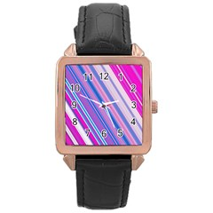 Line Obliquely Pink Rose Gold Leather Watch