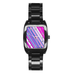 Line Obliquely Pink Stainless Steel Barrel Watch