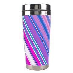 Line Obliquely Pink Stainless Steel Travel Tumblers
