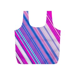Line Obliquely Pink Full Print Recycle Bags (S)