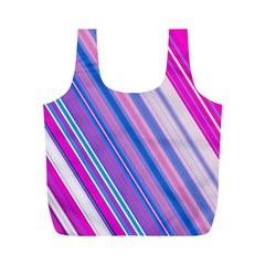 Line Obliquely Pink Full Print Recycle Bags (M)