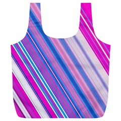 Line Obliquely Pink Full Print Recycle Bags (L)