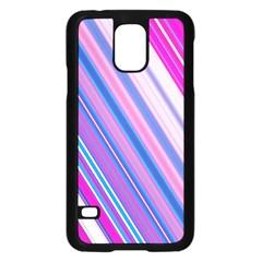Line Obliquely Pink Samsung Galaxy S5 Case (Black)