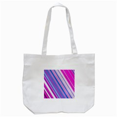 Line Obliquely Pink Tote Bag (White)