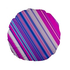 Line Obliquely Pink Standard 15  Premium Flano Round Cushions