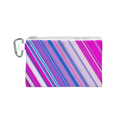 Line Obliquely Pink Canvas Cosmetic Bag (S)