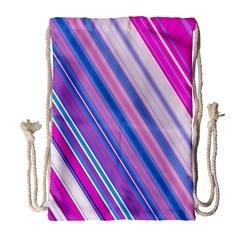 Line Obliquely Pink Drawstring Bag (Large)