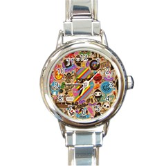 Background Images Colorful Bright Round Italian Charm Watch