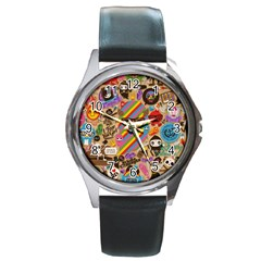 Background Images Colorful Bright Round Metal Watch