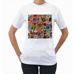Background Images Colorful Bright Women s T-Shirt (White) (Two Sided)
