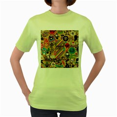 Background Images Colorful Bright Women s Green T Shirt