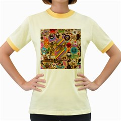 Background Images Colorful Bright Women s Fitted Ringer T-Shirts