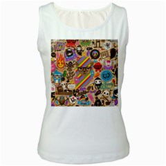 Background Images Colorful Bright Women s White Tank Top