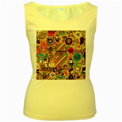Background Images Colorful Bright Women s Yellow Tank Top