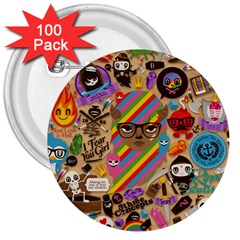 Background Images Colorful Bright 3  Buttons (100 pack)