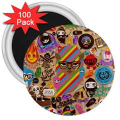 Background Images Colorful Bright 3  Magnets (100 Pack)