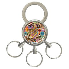 Background Images Colorful Bright 3-Ring Key Chains