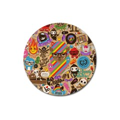Background Images Colorful Bright Magnet 3  (round)