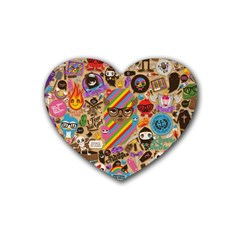 Background Images Colorful Bright Rubber Coaster (heart)