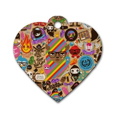Background Images Colorful Bright Dog Tag Heart (one Side)