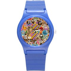 Background Images Colorful Bright Round Plastic Sport Watch (S)