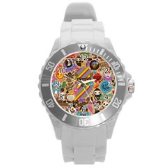 Background Images Colorful Bright Round Plastic Sport Watch (L)