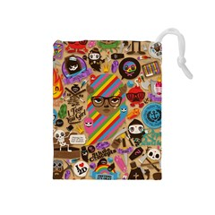 Background Images Colorful Bright Drawstring Pouches (Medium)