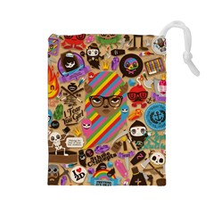Background Images Colorful Bright Drawstring Pouches (Large)