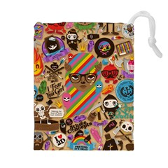 Background Images Colorful Bright Drawstring Pouches (Extra Large)