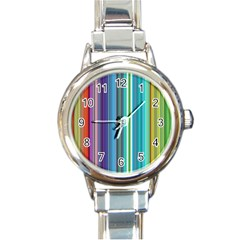 Color Stripes Round Italian Charm Watch