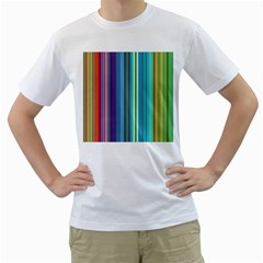 Color Stripes Men s T-Shirt (White) (Two Sided)