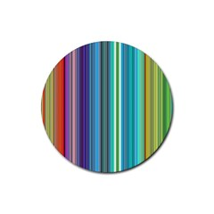Color Stripes Rubber Round Coaster (4 pack)