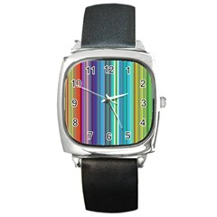 Color Stripes Square Metal Watch
