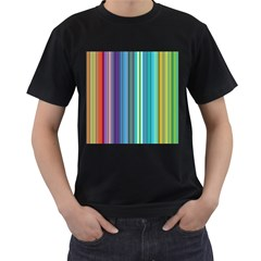 Color Stripes Men s T-Shirt (Black) (Two Sided)