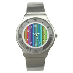 Color Stripes Stainless Steel Watch