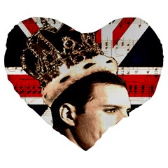 Freddie Mercury Large 19  Premium Heart Shape Cushions