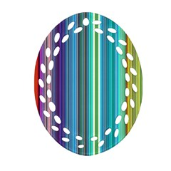 Color Stripes Oval Filigree Ornament (Two Sides)